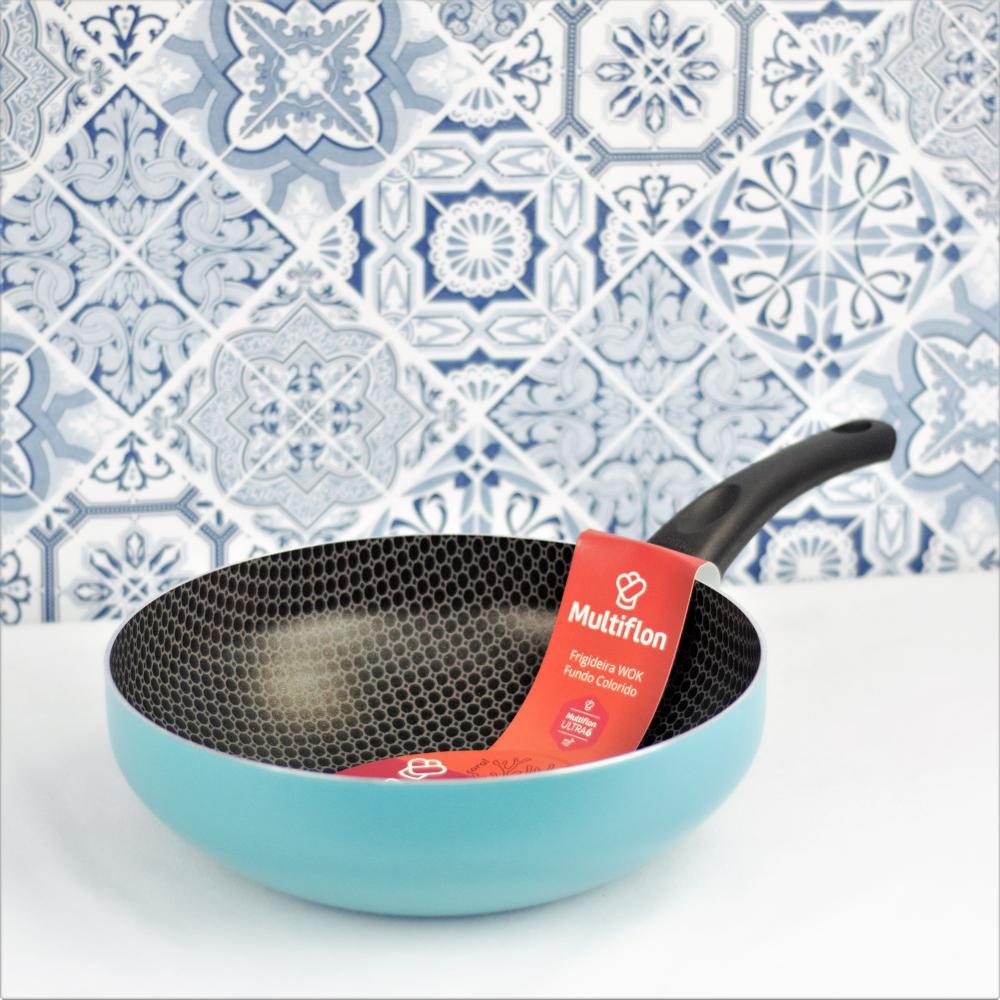 Frigideira wok 28cm color atol alum ant - Multiflon