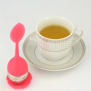 Infusor de chá folha silicone e inox cores sortidas
