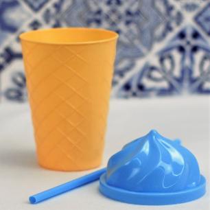 Copo sorvete 450ml com canudo cores sortidas