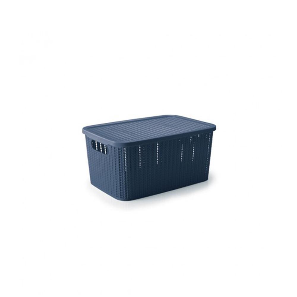 Caixa organizadora trama 4,7L azul - Plasútil