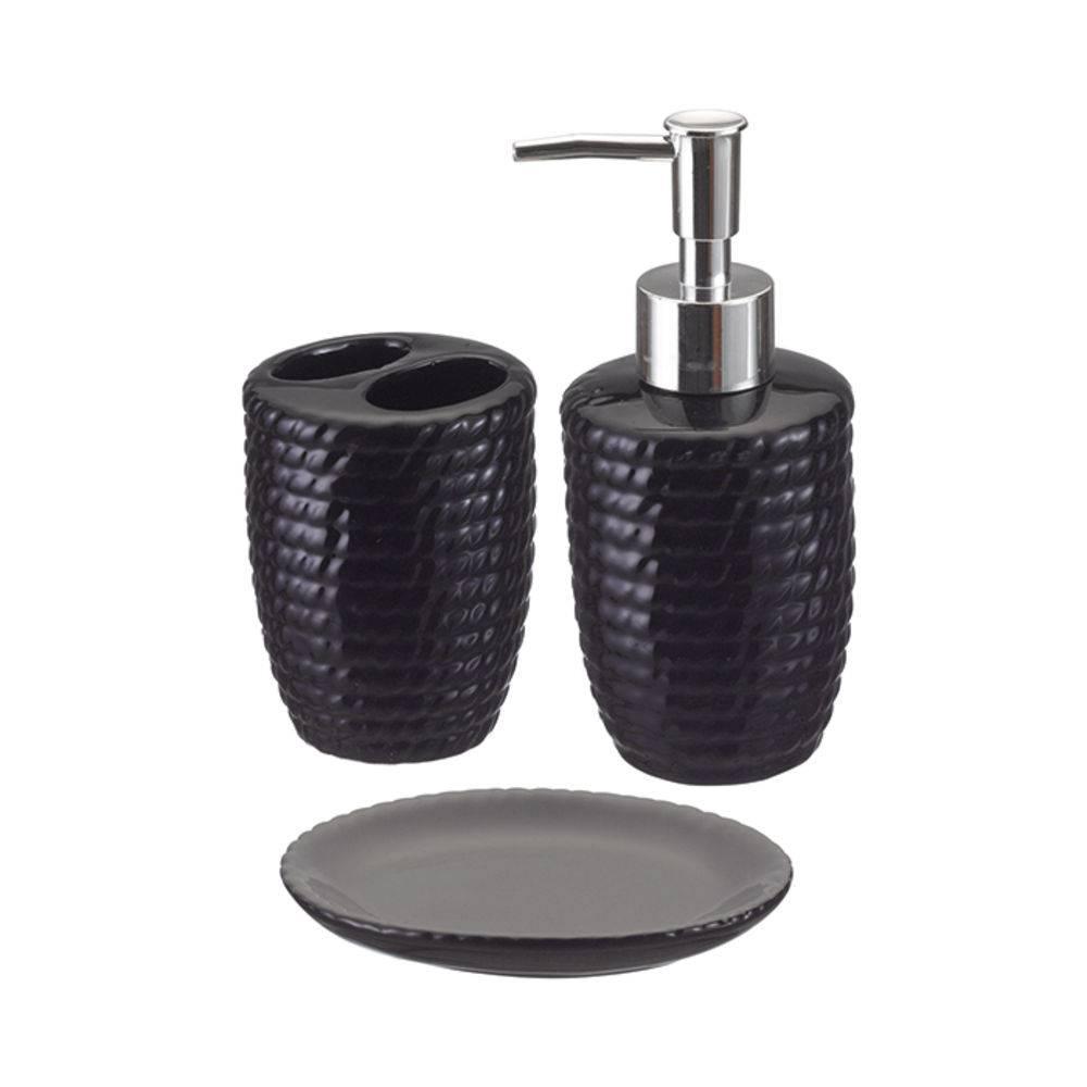 Kit banheiro em cerâmica 3pçs cores diversas