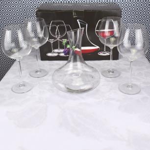 Conjunto de taças e decanter de vidro 5 peças - Belle Maison