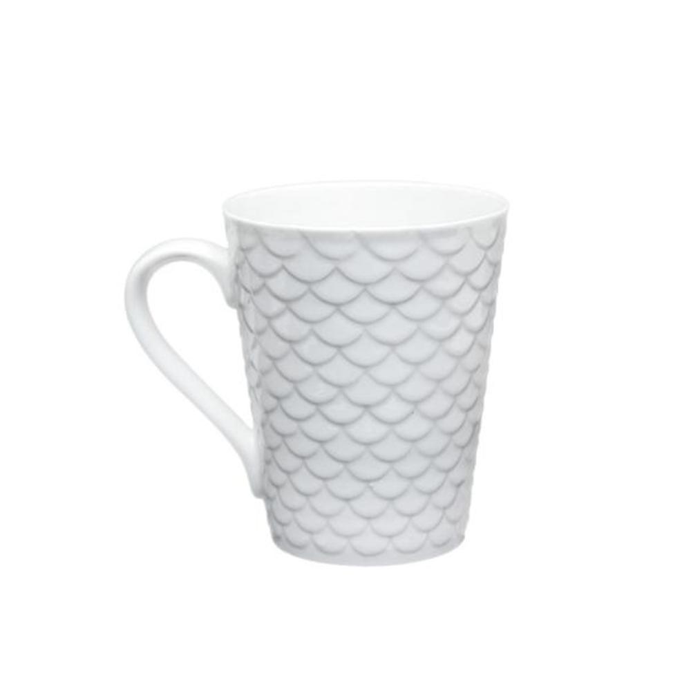 Caneca porcelana alto relevo waves 340ml texturizada