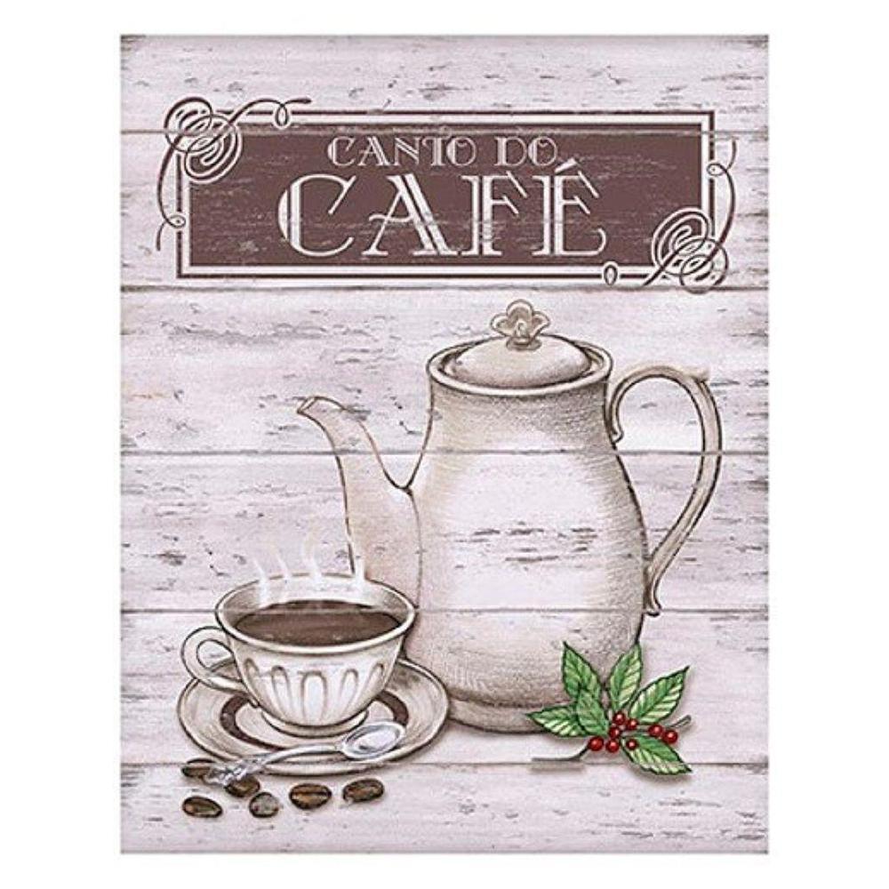 Placa em MDF decorativa 19x24cm canto do café - Litoart