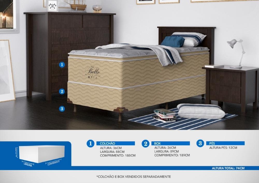 Colchão Solteiro Mola Probel Belle Confort Luxo (88x188x36cm)