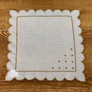 Jogo 4 Guardanapos Poá Branco 35 x 35cm
