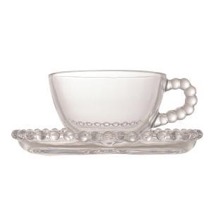Jogo 4 Xícaras Chá Cristal com Pires Coração Pearl 180 ml Wolff