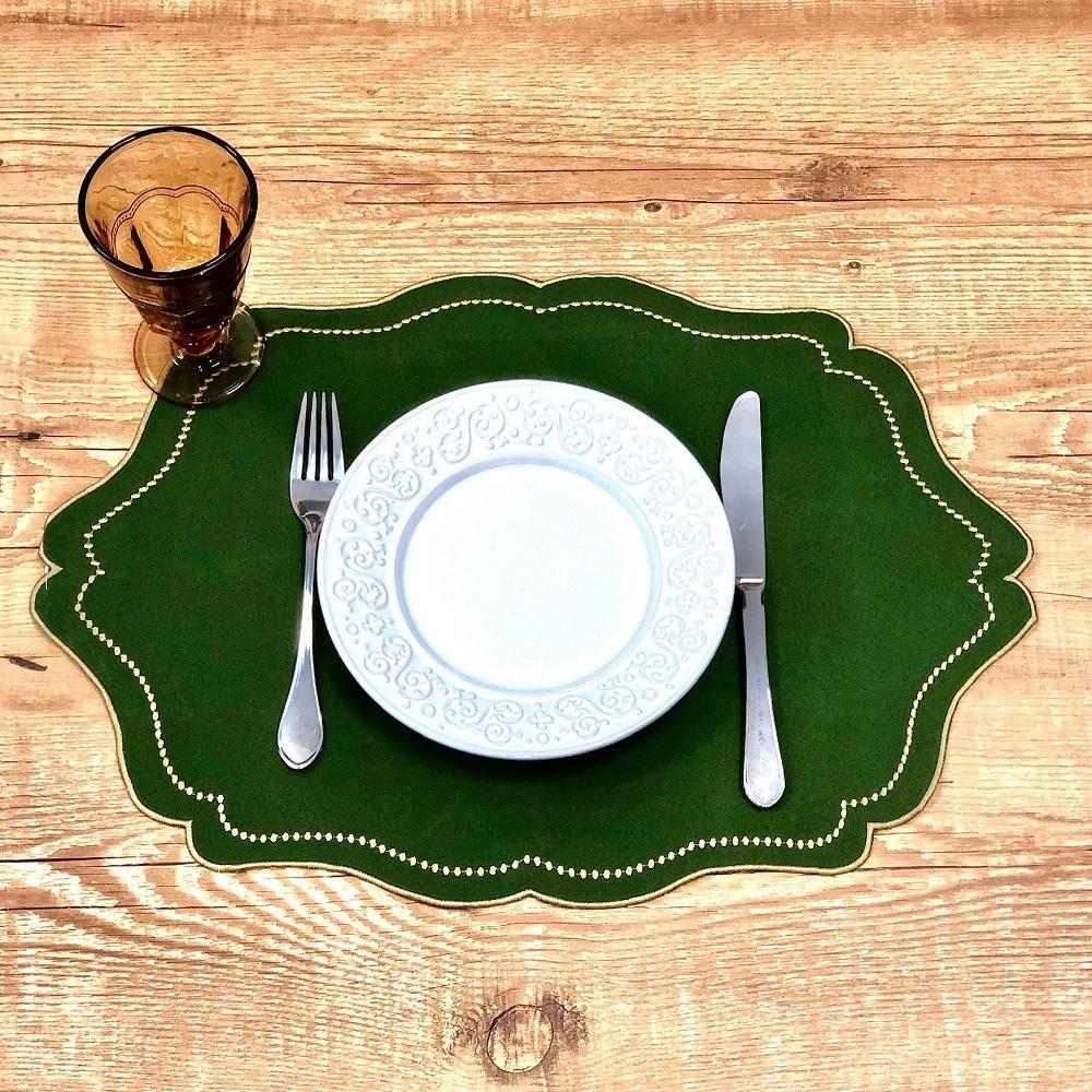 Jogo 4 Lugares Americanos  Vintage Verde Musgo