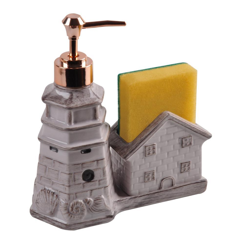 Porta Detergente E Esponja Cozinha Decorativo Cerâmica Gabinetto Lilás