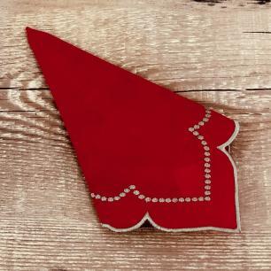 Jogo 4 Guardanapos Vintage Vermelho 35 x 35cm