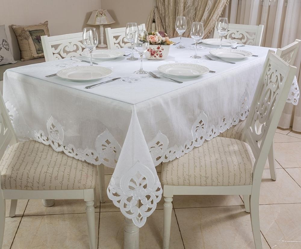 Toalha de Mesa Bordada Retangular 1.70 x 3.20m Delicatta Casa Argivai