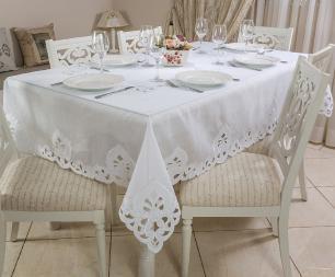 Toalha de Mesa Bordada Retangular 1.80 x 4.10m Delicatta Casa Argivai
