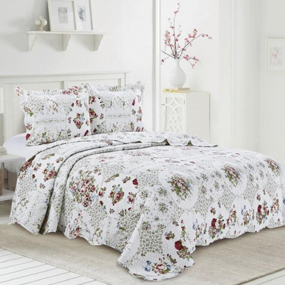 Kit Cobre Leito Colcha Evolution Patchwork Queen Florela Camesa
