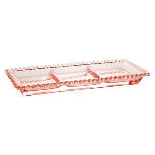 Petisqueira Cristal com 3 Divisões Pearl Rosa 30 x 13 x 3 cm Wolff