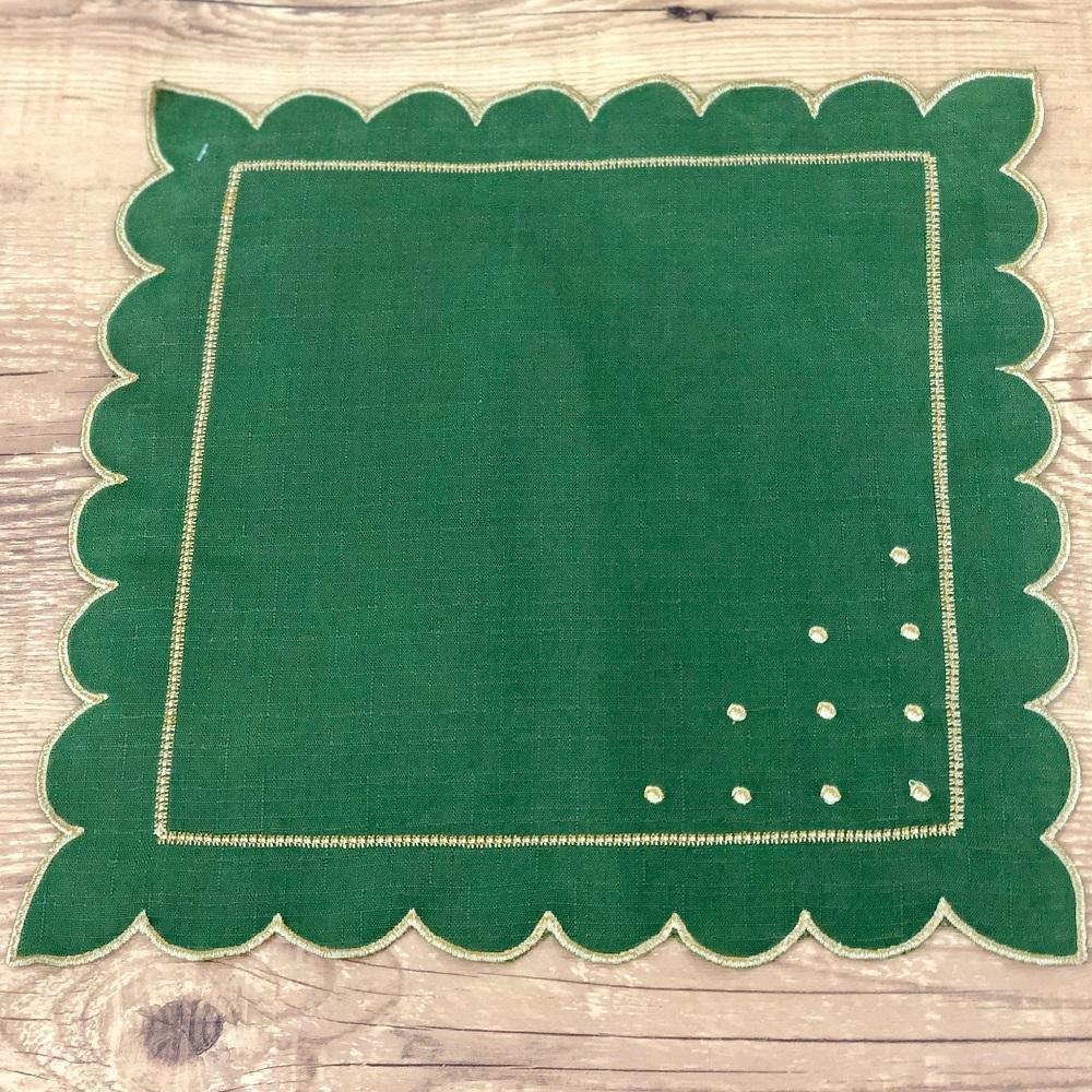 Jogo 4 Guardanapos Poá Verde Musgo  35 x 35cm