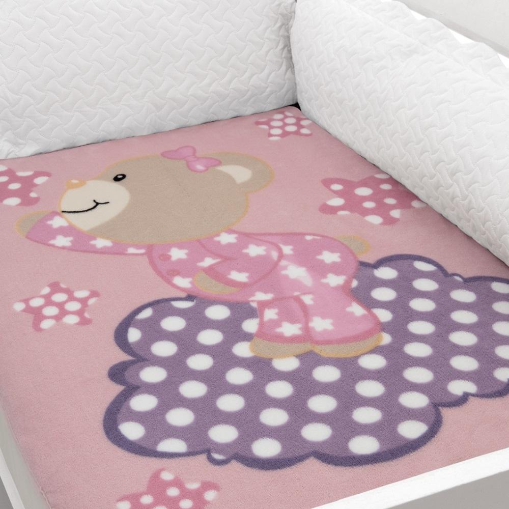 Cobertor Para Berço Baby Soft Ursa Rosa