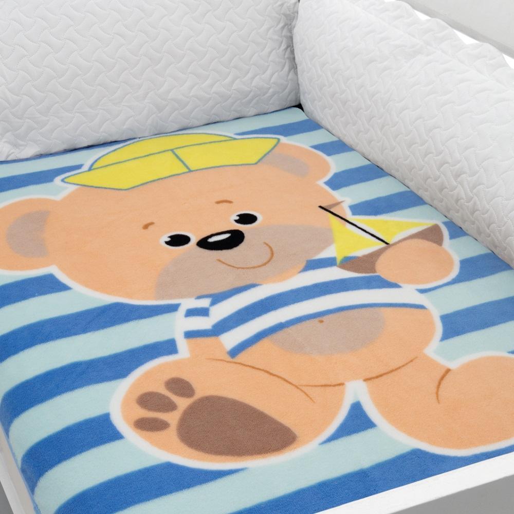 Cobertor Para Berço Baby Soft Urso Listrado