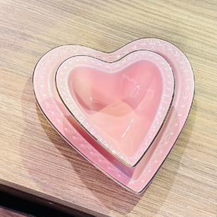 Jogo de Prato e Bowl Coração Cerâmica Rosa