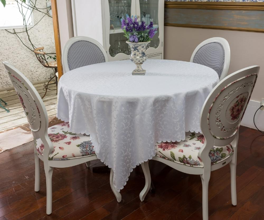 Toalha de Mesa Jacquard Branca Sempre Limpa Redonda 1.80m Arabesco
