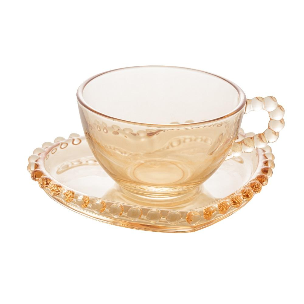 Jogo 4 Xícaras Café Cristal com Pires Coração Pearl Ambar 85 ml Wolff
