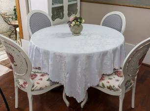 Toalha de Mesa Jacquard Branca Sempre Limpa Redonda 2.20m Jade