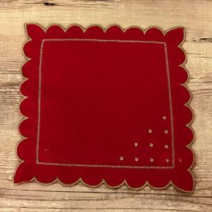 Jogo 4 Guardanapos Poá Vermelho 35 x 35cm