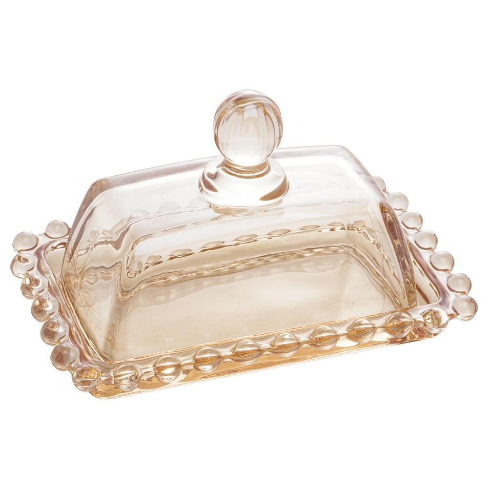 Mantegueira de Cristal Pearl Ambar 14 x 9 x 8 cm Wolff
