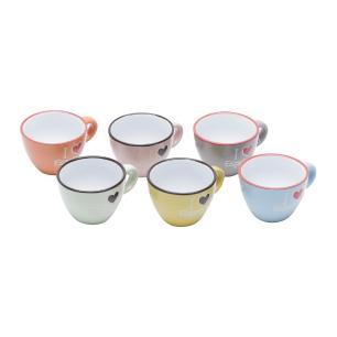 Jogo 6 Xícaras Café Cerâmica I Love Espresso Coloridas  80ml