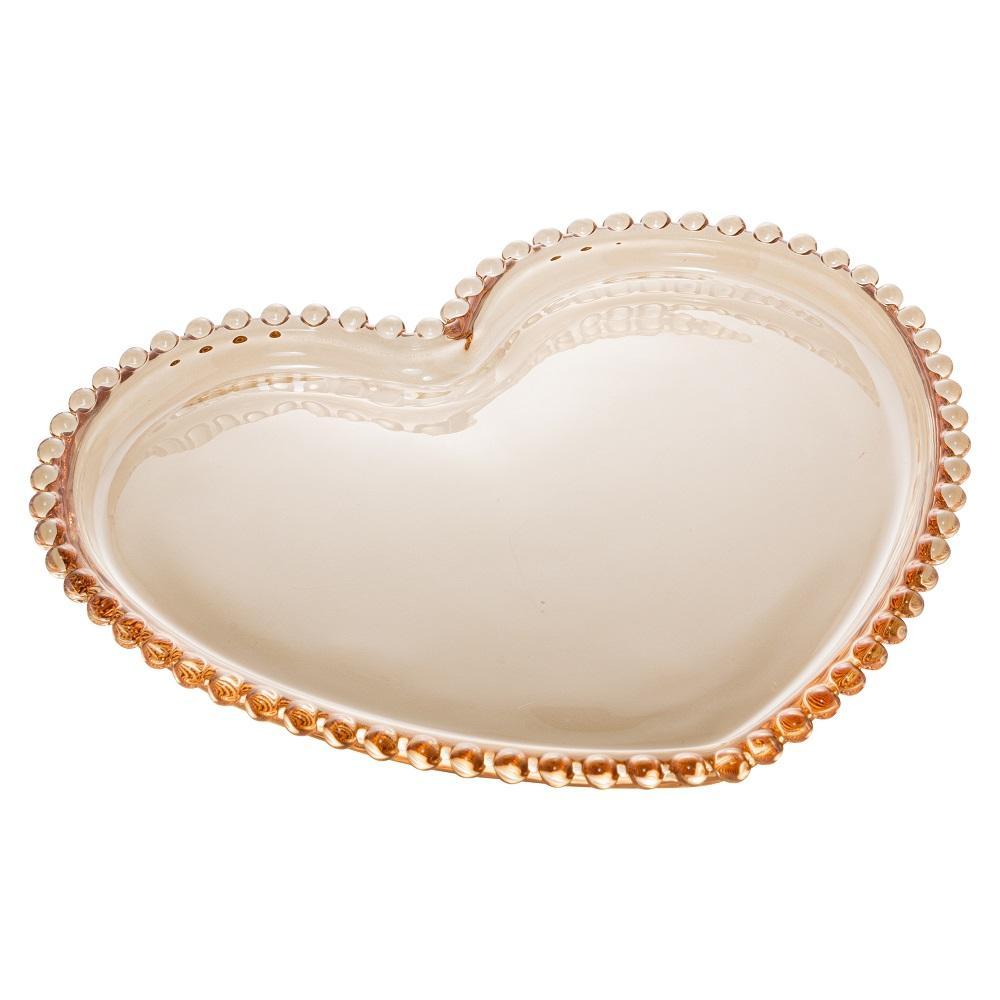 Prato Cristal Coração Pearl Ambar 20 x 17 x 2 cm Wolff