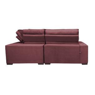 Sofa de Canto Retrátil e Reclinável com Molas Cama inBox Austin 2,40m x 2,40m Suede Velusoft Vinho