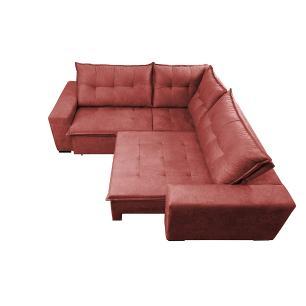 Sofa de Canto Retrátil e Reclinável com Molas Cama inBox Oklahoma 2,60m x 2,60m Suede Velusoft Vermelho