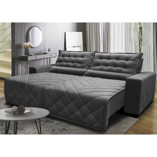 Sofá 2,52m Retrátil e Reclinável com Molas Cama inBox Plus Tecido Suede Velusoft Cinza