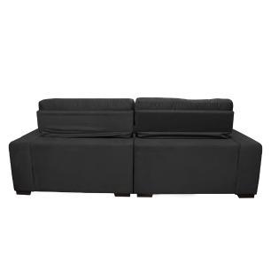 Sofá 3,02m Retrátil e Reclinável com Molas Cama inBox Confort Tecido Suede Velusoft Preto