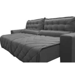 Sofá 2,42m Retrátil e Reclinável com Molas Cama inBox Plus Tecido Suede Velusoft Cinza