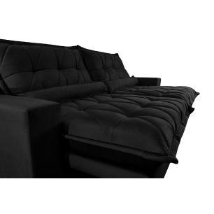 Sofa Retrátil e Reclinável 3,12m com Molas Ensacadas Cama inBox Soft Tecido Suede Preto