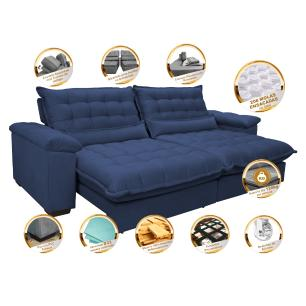 Sofá Retrátil e Reclinável 2,32m com Molas Ensacadas Cama inBox Aconchego Tecido Suede Azul