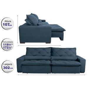 Sofá Magnum 3,02m Retrátil, Reclinável com Molas no Assento e Almofadas Lombar Tecido Suede Velusoft Azul - Cama InBox