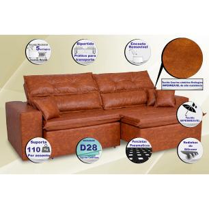 Sofá Tourino 2,52m Retrátil Reclinável, Molas e Pillow no Assento Tecido Courino Caramelo Cama InBox