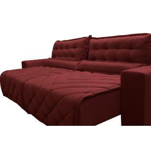 Sofá 2,82m Retrátil e Reclinável com Molas Cama inBox Plus Tecido Suede Velusoft Vermelho