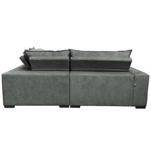 Sofa de Canto Retrátil e Reclinável com Molas Cama inBox Oklahoma 2,60m x 2,60m Suede Velusoft Cinza