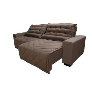 Sofá 2,62m Retrátil e Reclinável com Molas Cama inBox Plus Tecido Suede Velusoft Castor