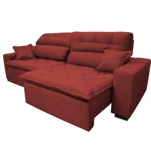 Sofá 2,22m Retrátil e Reclinável com Molas Cama inBox Confort Tecido Suede Velusoft Vermelho