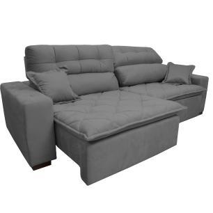 Sofá 2,82m Retrátil e Reclinável com Molas Cama inBox Confort Tecido Suede Velusoft Cinza