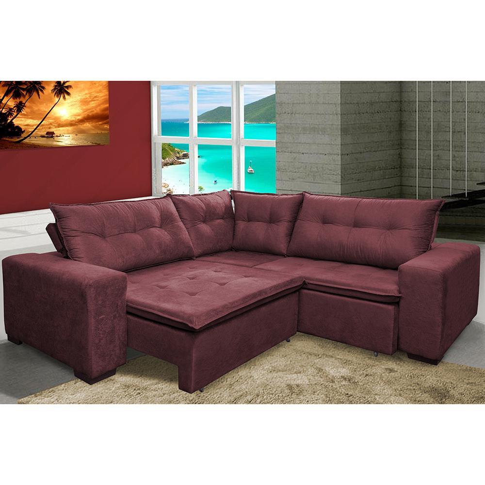 Sofa de Canto Retrátil e Reclinável com Molas Cama inBox Oklahoma 2,20m x 2,20m Suede Velusoft Vinho