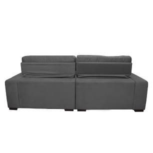 Sofá 2,92m Retrátil e Reclinável com Molas Cama inBox Confort Tecido Suede Velusoft Cinza