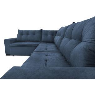 Sofa de Canto Retrátil e Reclinável com Molas Cama inBox Oklahoma 3,65X2,51 ou 2,51X3,65 Azul