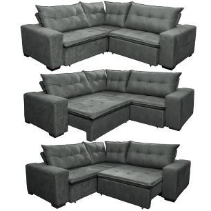 Sofa de Canto Retrátil e Reclinável com Molas Cama inBox Oklahoma 2,20m x 2,20m Suede Velusoft Cinza