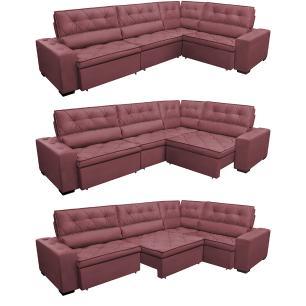 Sofa de Canto Retrátil e Reclinável com Molas Cama inBox Austin 3,65X2,54 ou 2,54X3,65 Suede Velusoft Vinho