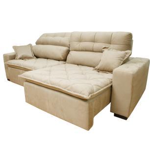Sofá 2,92m Retrátil e Reclinável com Molas Cama inBox Confort Tecido Suede Velusoft Bege
