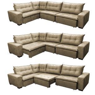 Sofa de Canto Retrátil e Reclinável com Molas Cama inBox Oklahoma 3,45X2,41 ou 2,41X3,45 Castor